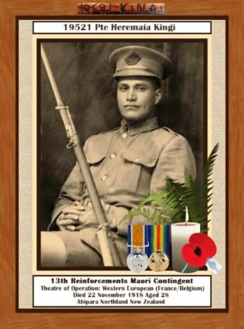 13th Reinforcements Maori Contingent, Theatre of Operation: Western European (France/Belgium), Died 22 Nov 2018 Aged 28, Ahipara Northland New Zealand.